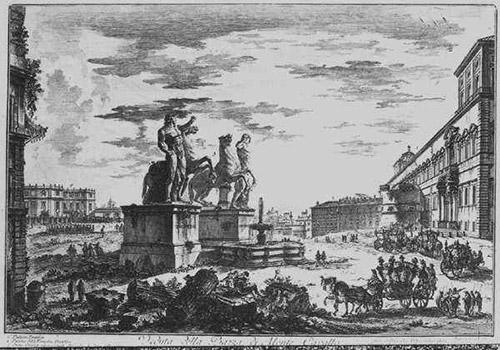 Piranesi, Ansicht der Piazza di Monte Cavallo