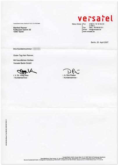 Brief von Versatel mit Gruß-Service