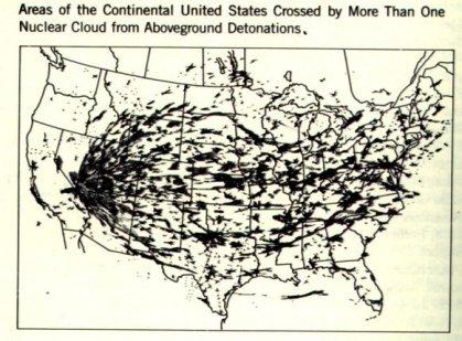 Fallout Niederschlag bei amerikanischen Atombomben-Tests