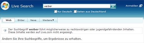 Screenshot Suchmaschine Live.com
