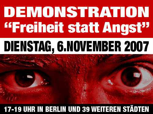 Demonstration Freiheit statt Angst am 6. November 2007