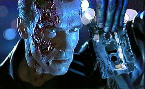 Terminator mit Musikkassette