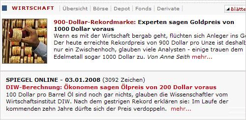 Spiegel Wahrsagung: Dollarpreis, Ölpreis