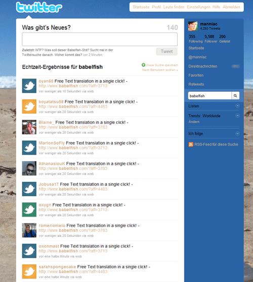 Screenshot mit Babelfish Tweets